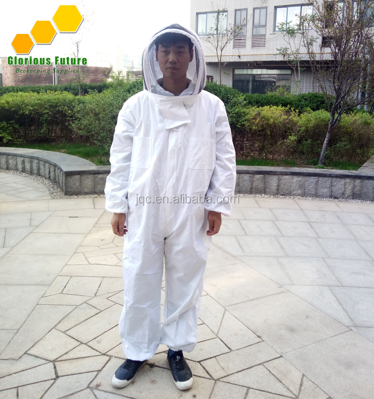 Best Price White Cotton Beekeeper Suits Coverall Hooded Bee Protect Clothes