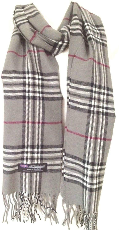 f784972eb Get Quotations · 100% Authentic Real Cashmere Super Soft Gray Plaid Scarf -  Unisex (Men/Women