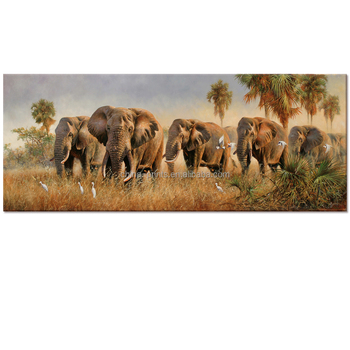 Animal Canvas Wall Art Elephant Oil Painting Prints African Elephant ...