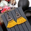 European American Hot Sale Retro triangle jewellery drop silk thread earring popular tassel earrings female holiday accessories