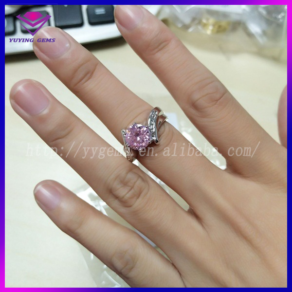 18K Silver Plated Copper CZ Ring Round Pink Zirconia Manufacturer