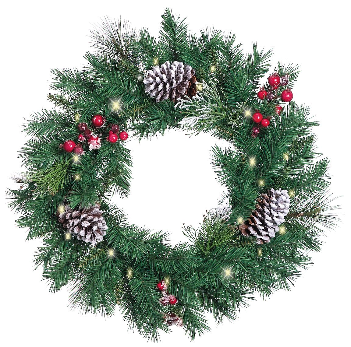 get quotations 24 inch snow berry pre lit christmas pine wreath with 25 led lights artificial