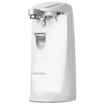 BLACK+DECKER EC475W Extra-Tall Electric Can Opener with Knife Sharpener, White