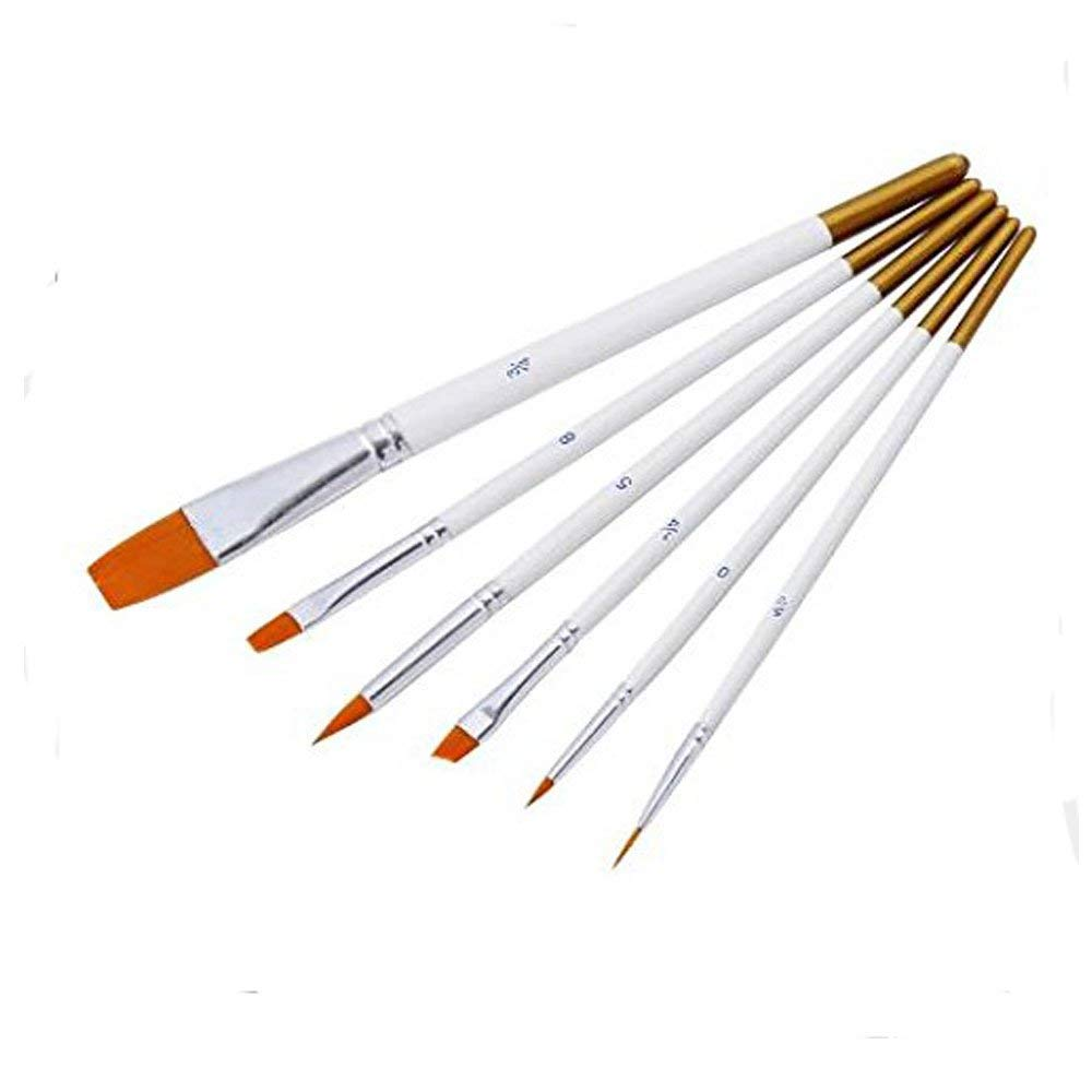 6PCS/Set Nylon Hair Oil Watercolor Acrylic,Professional Painting Gouache Brush,Art Pencil Artist Paint Brushes Drawing Tool for Watercolor, Oil, Acrylic Paint/Craft, Nail,ECT