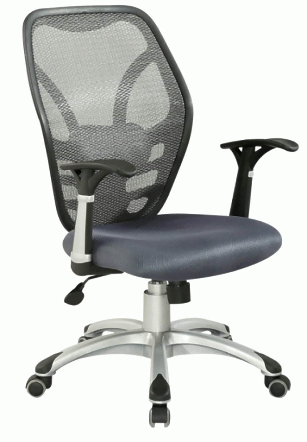 Chintaly Imports Mesh Seat and Back Pneumatic Gas Lift Contemporary Office Chair, Grey/Aluminum