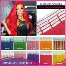 Tape hair extensions virgin brazilian hair fancy color cold fusion easy bond tape in hair extensions