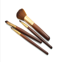 Cheap makeup brushes sets 4pcs synthetic hair aluminum tube handle cosmetic makeup brush set