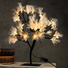 Cherry Blossom Tree Light Table Lamp Luminaria Fiber Optic Night light for Home Wedding Bedroom Indoor Decoration