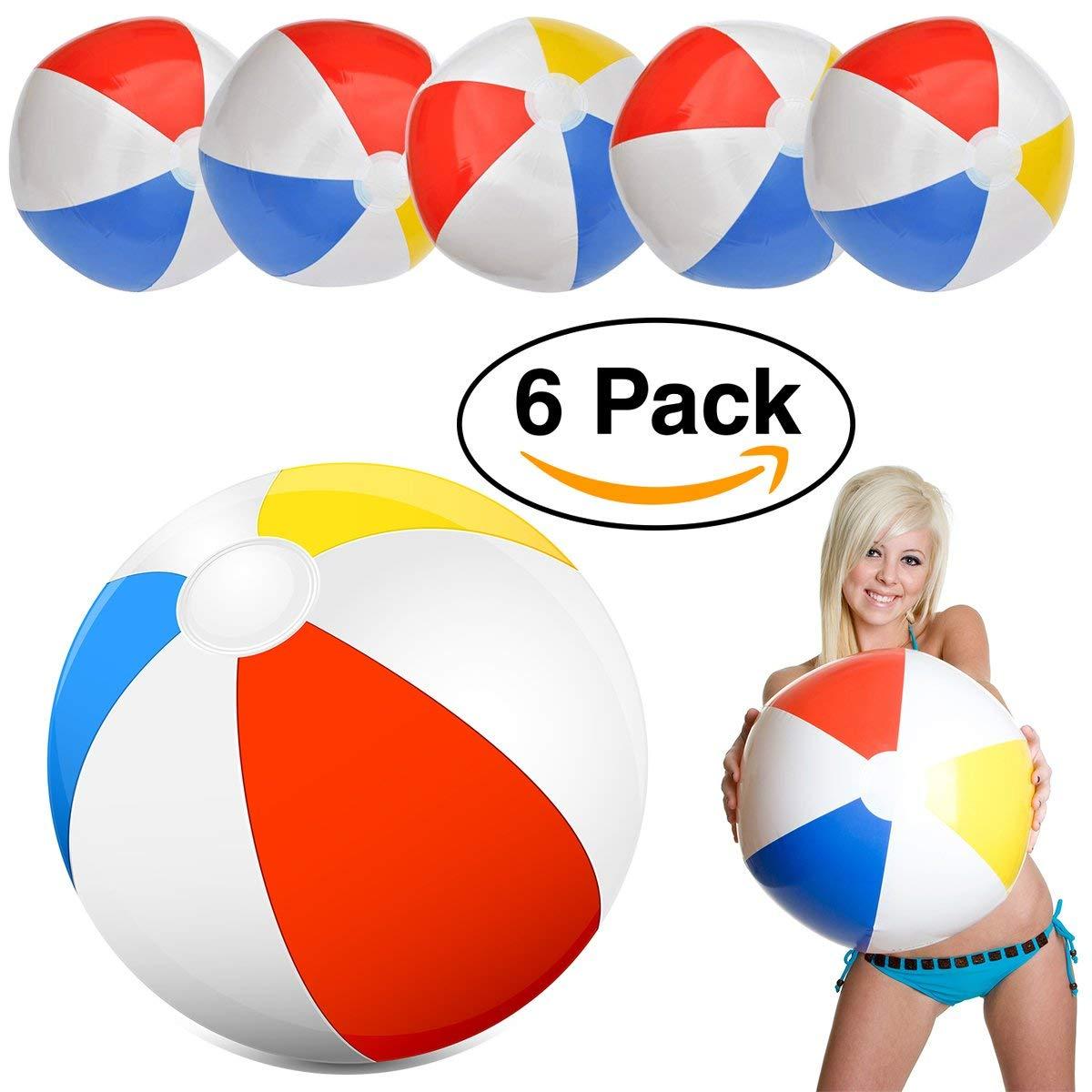 """Intex Glossy Panel Beach Ball Large 20"""" Classic Red, Blue, Yellow & white Beachball (6 Pack)"""