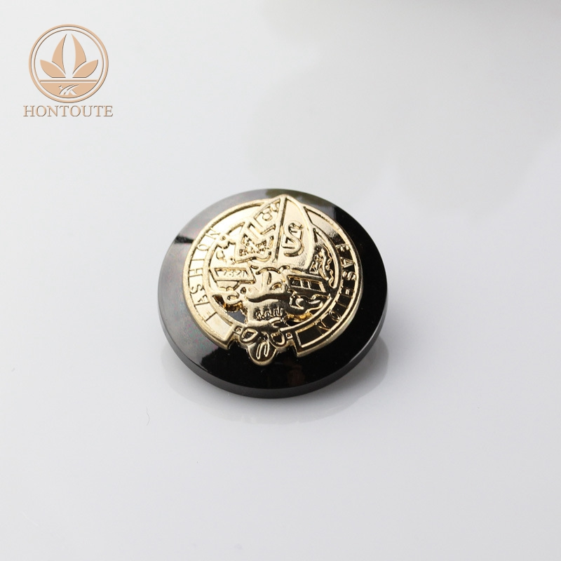 Private design logo emboss sewing fashion metal jean button for garment with brass