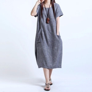 new south Korean women's dress code fat MM loose add weight to increase cotton and hemp long style show thin dress