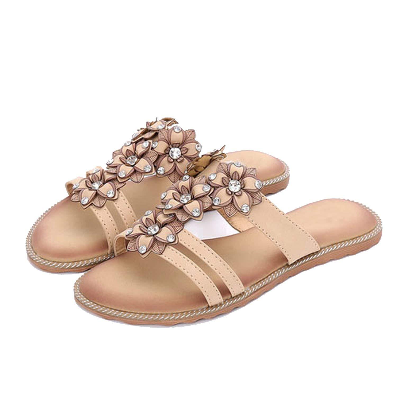 64d9b761a17ac Get Quotations · Fashion-Lover 2018 New Summer Women Sandals Rhinestone  Slides Bohemian Flowers Beach Women Slippers Summer
