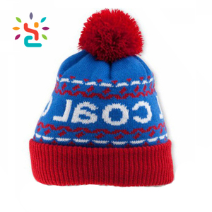 e4d49ed8e7e Promotional acrylic pom beanie men hat red and blue two tone knitted hats  adult wholesale free
