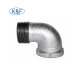 90 degree equal Elbows female threaded beaded malleable cast iron pipe fittings
