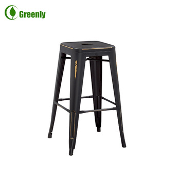 24 Inch Stackable Vintage Metal Bar Stool Bar Chair High Chair Jr