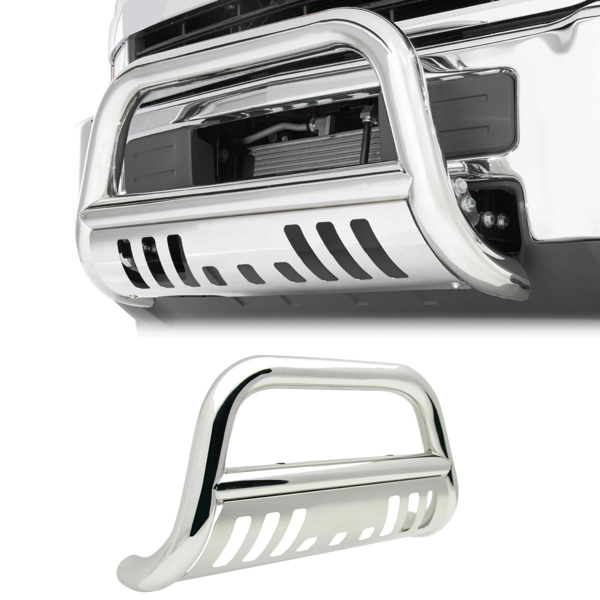 4X4TAG Premium Quality Mirror Polish Stainless Steel Bull Bar Fits Chevy//GMC Trailblazer//Envoy 2002-2009 Bumper Grille Guard with Skid Plate and Optional Light Holes