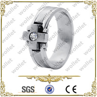 fashion CZ Stone stainless steel &titanium emerald ring mens jewelry gift