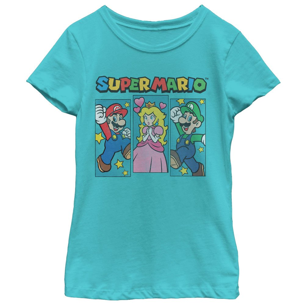 Fifth Sun Nintendo Girls' Super Mario Brothers and Princess Peach T-Shirt