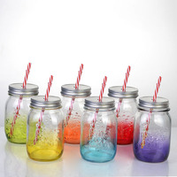 6 colors 16oz painted color glass mason jar with handle ,lid and straw