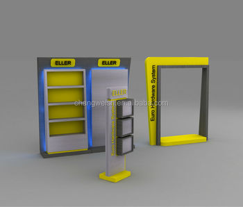 Exhibition Stand With Shelves : Exhibition booth design displaying shelf display stand view