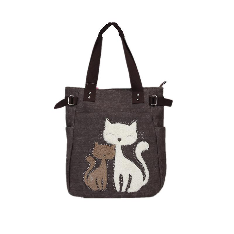 Embroidered Cats Shoulder Bag