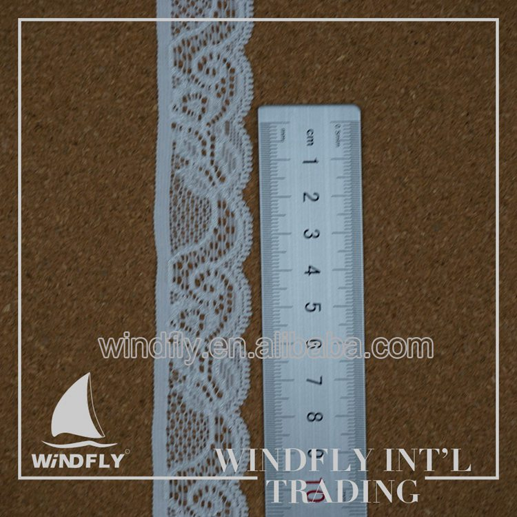 Swiss Woven White Thin Flat Lace Trim