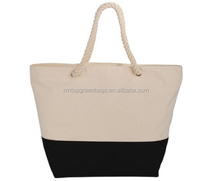 Wholesale Durable Economical Customize Zippered Cotton Canvas Rope Tote Bag