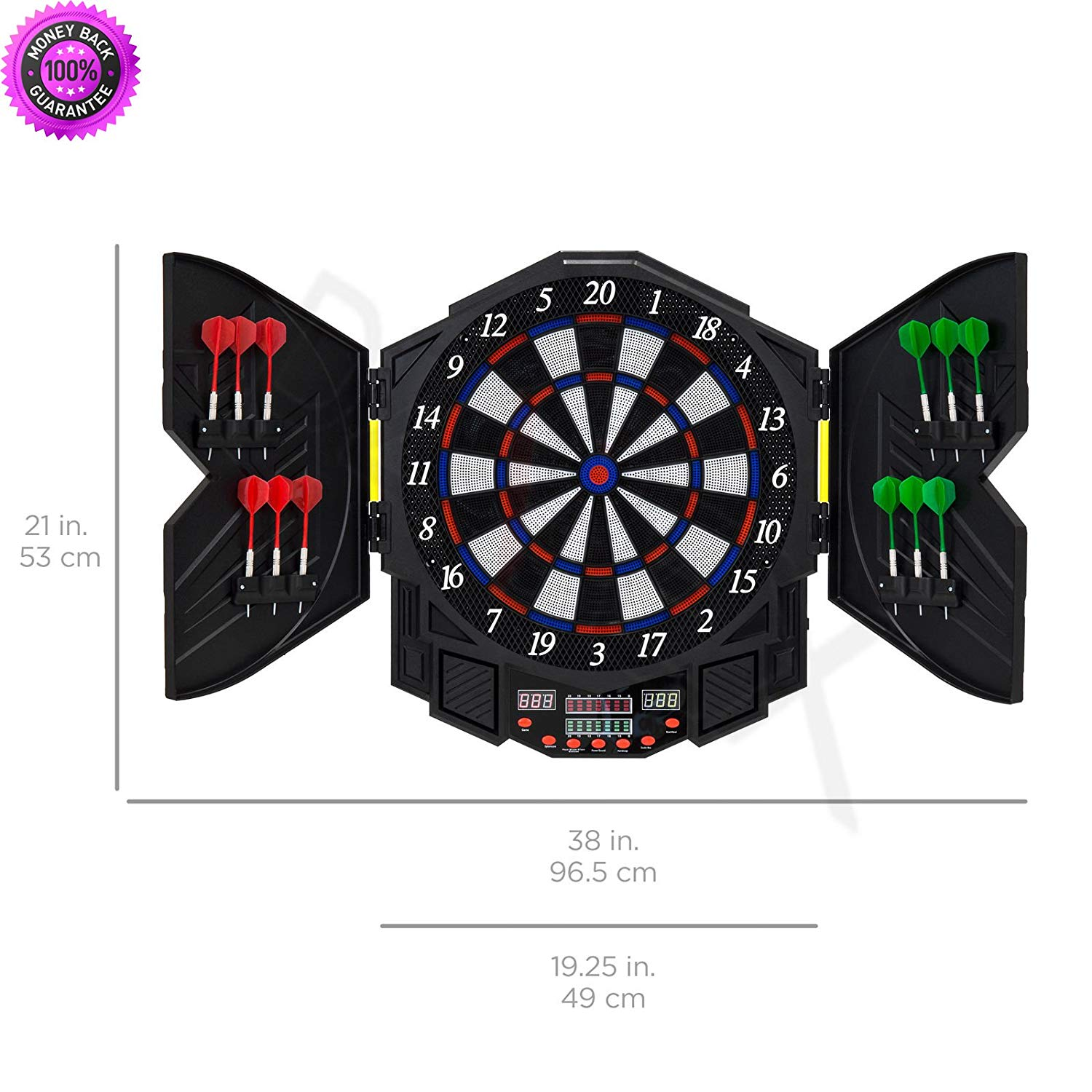 DzVeX Electronic Dartboard Sport Game Set w/Cabinet, 12 Darts, LCD Display And soft tip dart boards electronic dart boards with cabinet american dart boards winmau dart board dart boards