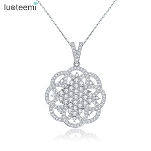 LUOTEEMI Vintage Collection AAA Austrian Zircon White Gold Plated Pendant Jewelry Necklace