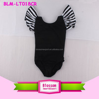 Wholesale Baby Girls Ballet Dance Training Gymnastics Leotard Black Ballet Costume Kids Flutter Sleeve Striped Leotards Kids
