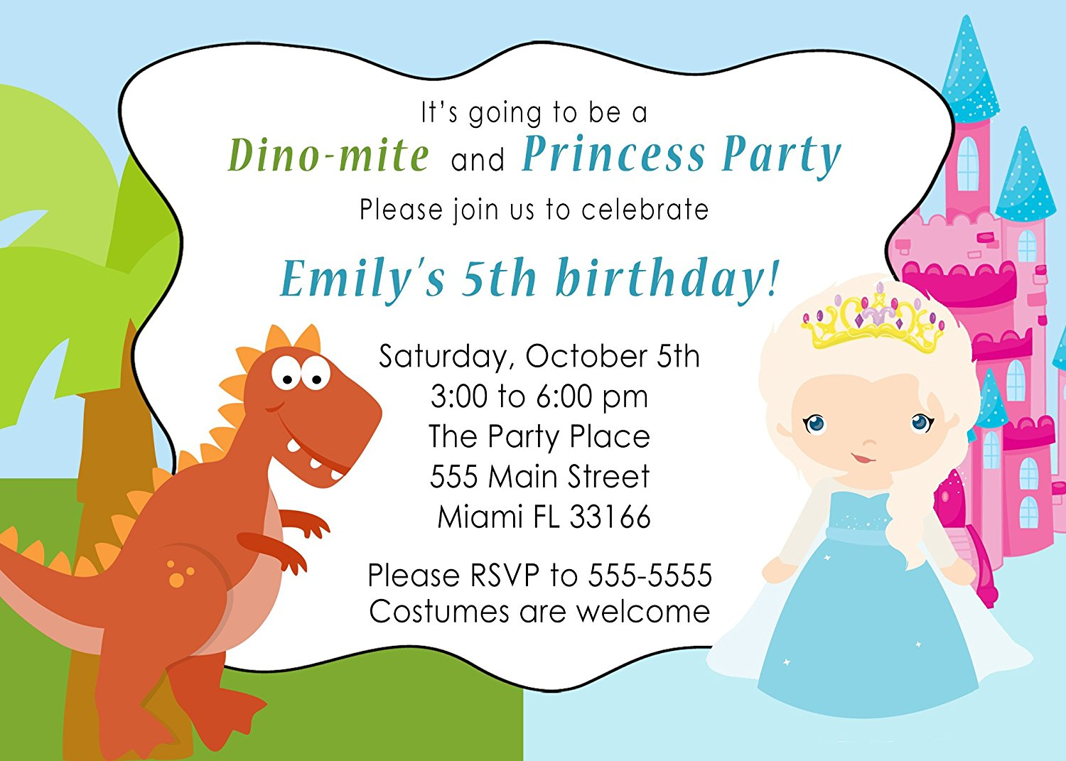 30 Invitations Dinosaur T Rex Winter Princess Girl Boy Birthday Party Personalized Cards Photo Paper
