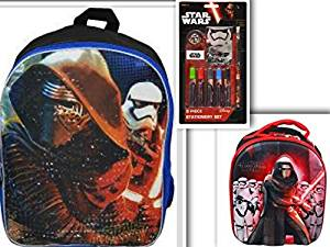 "Star Wars Back to School Bundle - 3 Items (11 pcs): Star Wars Episode 7 16"" Backpack, Kylo Dome Shaped 3D Lunch Bag, & 9 Piece Stationary Set on Blister Card"