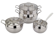stainless steel cook pot sets with soup pot and steamer pot