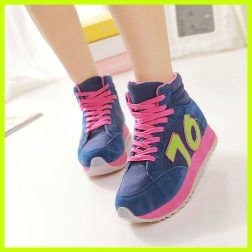 S3021 newest spring autumn high-top canvas shoes fashion muffin crust women shoes matte leather mix color casual shoes
