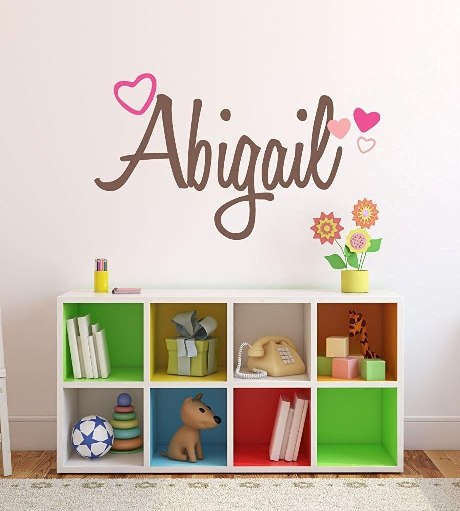 Buy Nursery Custom Name Hearts Wall Decal Sticker, 50\