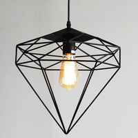 Vintage wrought iron pendant light with diamonds shape metal cage lampshade for restaurant cafe loft lighting fixtures