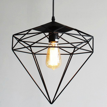 Vintage wrought iron pendant light with diamonds shape metal cage vintage wrought iron pendant light with diamonds shape metal cage lampshade for restaurant cafe loft lighting aloadofball Image collections