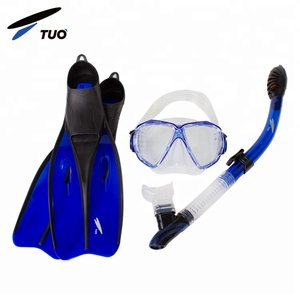 TUO anti-fog anti-leak dry top swimming scuba diving wholesale snorkel set with fins