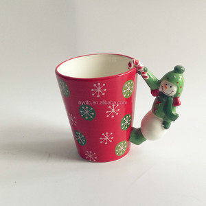 Winter holiday drinkware tumbler cups Christmas Mugs with 3D figurine Handle