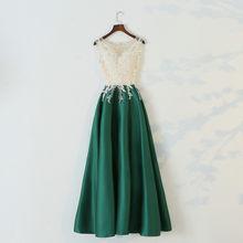 Женское длинное сатиновое платье JaneVini, кружевное платье без рукавов с бусинами для свадебной вечеринки, 2019(Китай)