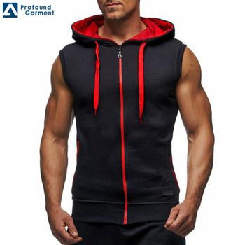 men oem zipper up blank sleeveless hoodies hoodies custom man