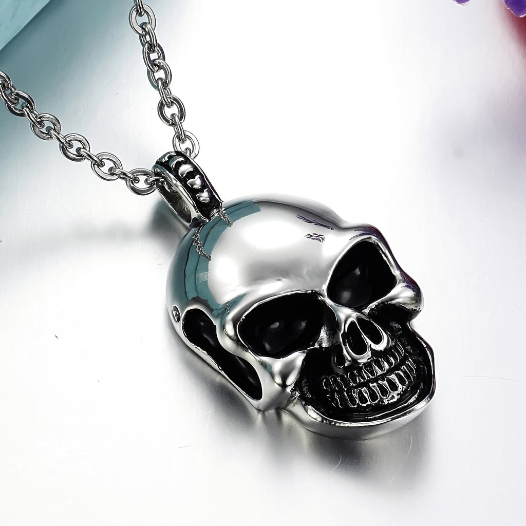 Steampunk style mens skull pendant necklace