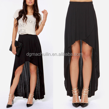 cheap high low black front and back skirts