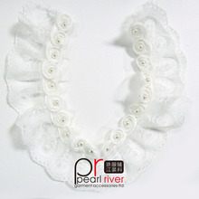 Trendy scalloped rigid lace shabby rose flower with pearl pleated lace trimming for wedding dress