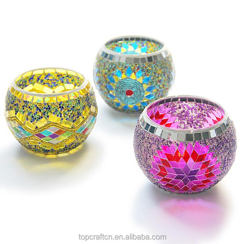 Venta al por mayor, velas de mosaico de colores, candelabros de cristal baratos, tarros de vela para decoración de boda y hogar