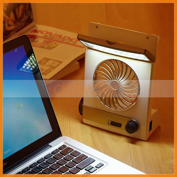Multicolor Rechargeable Solar Power Table Fan With Book Light