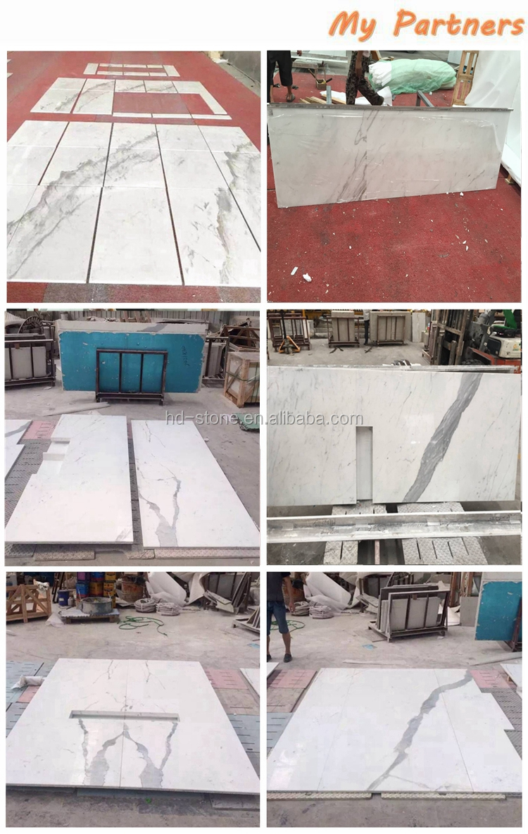 Italian Calacatta White Marble Tiles for Countertops Calaeatta Vagli Oro Marble Island with Good Price