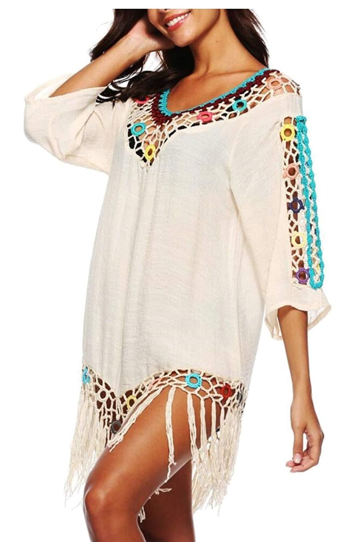 f0393b4384fc1 Get Quotations · ainr Women Crochet Long Sleeve Swimsuit Cover up Mini Beach  Tunics Dress