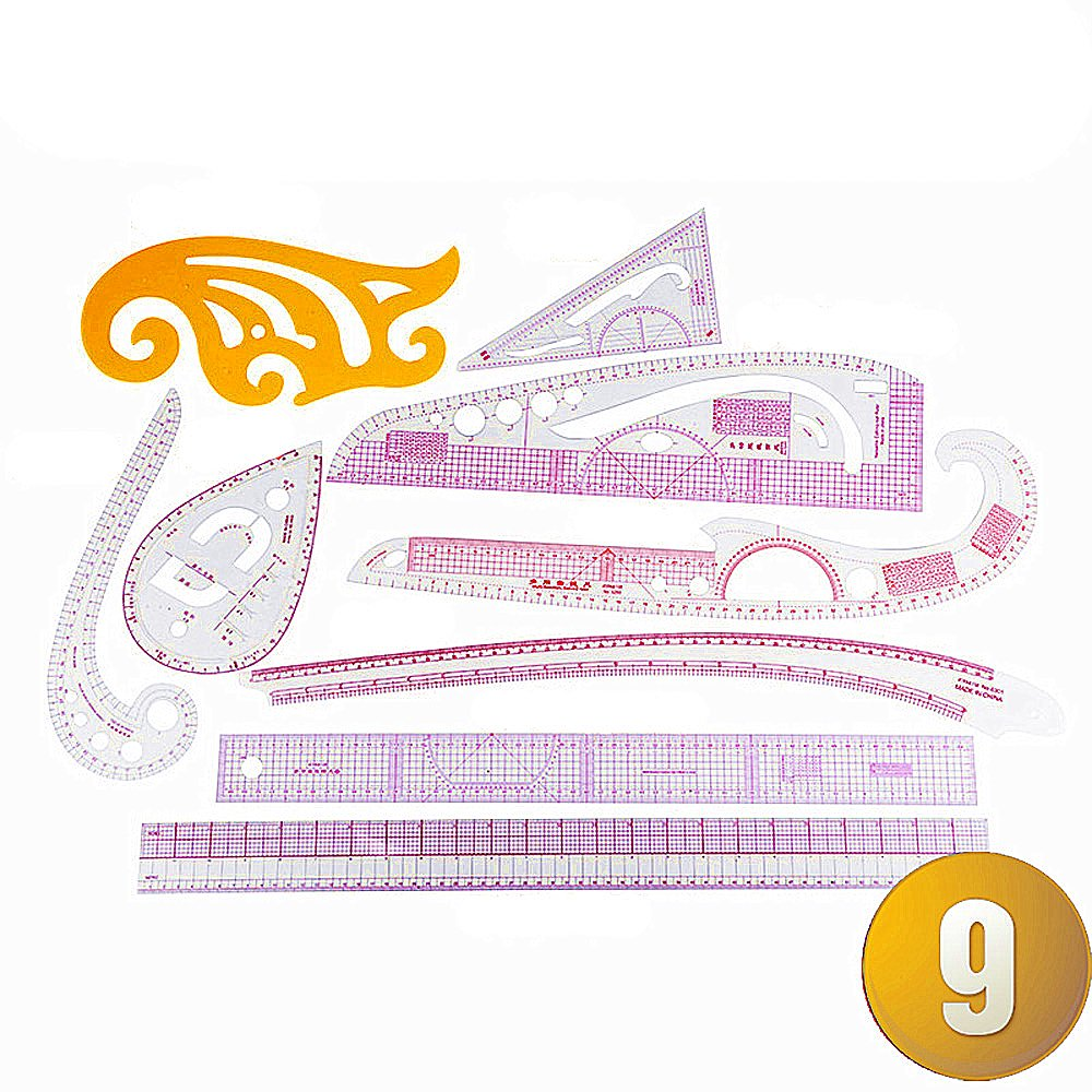RZDEAL 5 Style Plastic Fashion Ruler Set Vary Form Triangle Curve Button 55cm Graded Sewing Set Centimeter//inch