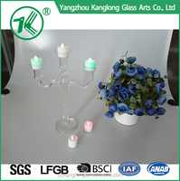 Simple Design 35cm glass pillar candle holders For Wedding&Party